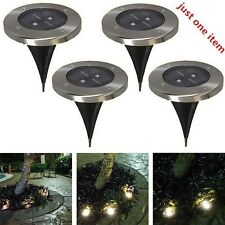1X Solar Powered LED Light Spot Lamp Stainless Steel Outdoor Garden IP65 Path US