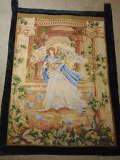 """Angel with the Birds French Provincial Tapestry 20""""x 29"""" wall hanging"""