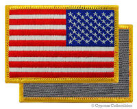 AMERICAN FLAG EMBROIDERED PATCH GOLD BORDER USA LEFT w/ VELCRO® Brand Fastener