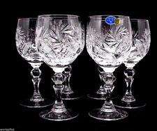 Set of 6 Russian Cut Crystal Red Wine Glasses 8.8 oz - Soviet Stemmed Goblet