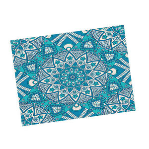 Oblong Printed Tablecloth Dining Table Cover Home Bohemia Rhombus Blue