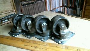 4 Fairbanks Cast Iron Wheel Platform Swivel Caster antique vintage old hardware