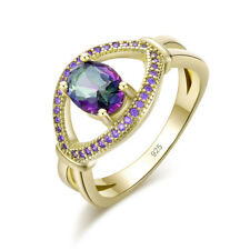 Rainbow Topaz Amethyst Yellow Gold Plated Women Jewelry Gems Ring # 5-10 NJ10880
