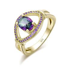 Rainbow Topaz Amethyst Yellow Gold Plated Women Jewelry Gems Ring # 5-10 NJ10880