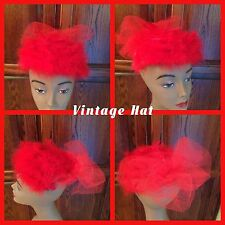 Vintage Ladies Red Hat With Feathers Fancy Union Made