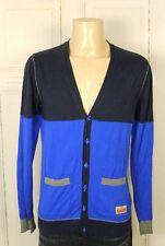 EDC BRAND Vintage Style Strickjacke Cardigan Blau Grau Gr. L W53