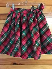 *OSHKOSH B'GOSH* Girls Pink/Red/Green/Silver Plaid Bow Skirt Size 8