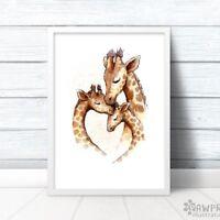 Family of 3 Giraffe Nursery Art Print | New Baby Gift for Family | Unframed