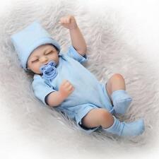"""10"""" Mini Full Body Vinyl Reborn Doll Lifelike Newborn Baby Girl Magnet Pacifier"""
