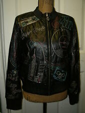 Authentic ROCA WEAR Womens Black Genuine Leather Embroidered Jacket Coat Sz L