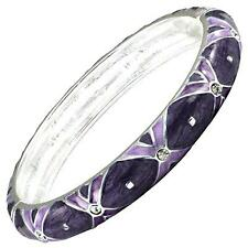 Purple Silver Crystal Bangle Bracelet Enamel Hinged Alloy Women Fashion Jewelry