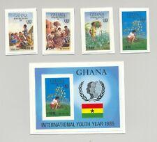 Ghana #970-974 Youth Year, Trees, Education, Food 4v & 1v S/S Chromalin Proofs