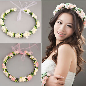 Adjustable Women Rose Flower Crown Headband Wedding Hair Wreath Garland Hairband