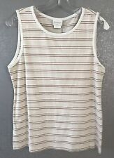 Blue Willi's SZ M Med Sleeveless Top Blouse Tank Stiped Beige Brown