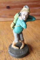 "Vintage Golfer Statue Chalkware hand painted 10"" Old man Caddy holds bag Figure"