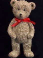 Gisela Graham Standing Teddy Christmas Decoration with Red Bow