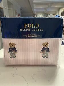 NEW Ralph Lauren POLO PINK STRIPE Cotton Girl Teddy Bear 4 PC KING Sheet Set