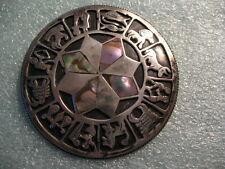 Vintage Beautiful Sterling Silver Mother of Pearl Inlay Zodiac Astrology Brooch