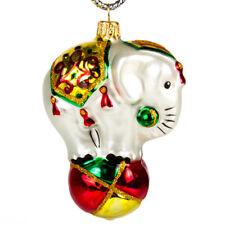 "Circus Elephant Figurine Handblown Glass Ornament Christmas Tree Decoration 3.3"""