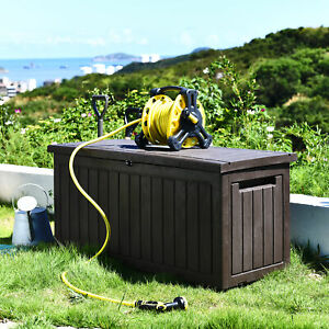76 Gallon Deck Box Resin Patio Waterproof Outdoor Storage Box Container Bench