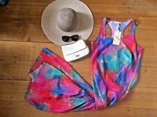 SASS Watercolour Maxi BNWT $109.95 RRP Pink Blue Green Beach Summer 10 S M Fun