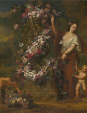 "oil painting handpainted on canvas ""  Allegorical figure with flowers""@N10004"