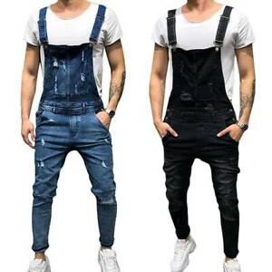 Men Distressed Denim Jeans Dungarees Bib Overalls Suspender Jumpsuit Trousers AU