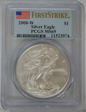 2008 W Burnished Silver American Eagle  PCGS MS 69 First Strike