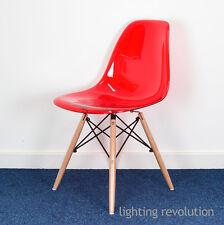 Eames inspirado Ghost Estilo Dsw Comedor Silla Transparente Roja Asiento De Diseñador