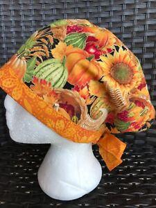 Fall 🍂🍁 pumpkins Surgical Cap Nurses Scrub Hat Womens USA🇺🇸 Made 100% Cotton
