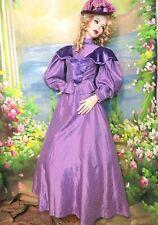 Vintage ANTIQUE Victorian DRESS bustle back 2pc set SKIRT top LAVENDER XS OOAK