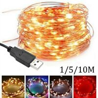 10 50 100 LEDs USB Kupfer Draht String Lichterketten wasserdicht XMAS Home Decor