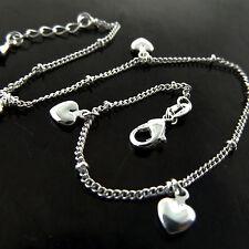 Anklet Bracelet Real 925 Sterling Silver S/F Solid Ladies Heart Charm Design