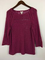Chico's M Sweater Open Textured Knit Purple Berry Pink Chicos Size 1 Is Medium