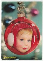 1963 Merry Christmas Photo Card Child Ball Glass Decoration Greeting Vintage