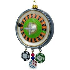 Roulette Casino Poker Chip Glass Christmas Ornament 5.75 Inches