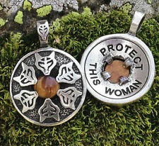 """Protect This Woman"" Pendant – Tigers Eye with Wolf Walker Goddess"