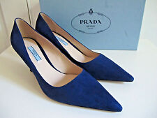 NIB $695 Prada Pointy Toe Curved metal Heels Suede Navy Heels Shoes 40.5 10.5