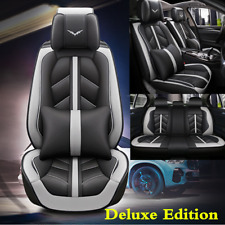Black/Gray Leather 5D Surround Car Seat Cover Cushions w/Headrest Waist Pillows
