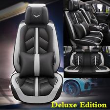 Black/Gray Leather 5D Surround Car Seat Cover Cushions w/Headrest Waist Pillows