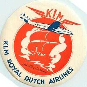 The Flying Dutchman ~KLM ROYAL DUTCH AIRLINES~ Artistic Luggage Label, c. 1955