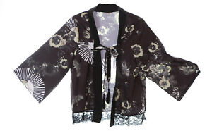 KJ-11 Schwarz Kranich Blumen Fächer Haori Über-Jacke Geisha Kimono Yukata Japan