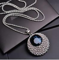 Designer Damen 75cm Halskette Schmuck Collier mit Anhänger Silber lang Kette M39