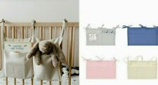 Hanging Bag with Two Pockets Linen Multifunction Baby Crib Storage Toys Durable