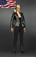 "1/6 T-800 Black Leather Jacket Suit Set For Terminator 12"" Female Figure ❶USA❶"