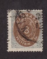 Denmark stamp #19, used, 8s gray and brown, 1871, wmk. 112, SCV $75