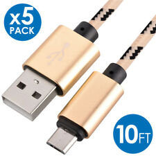 5x Micro USB Fast Charger Data Sync Cable Nylon Braided Cord for Samsung Android