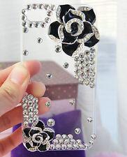i-118 iPhone 4/4s NEGRA ROSA 3d Funda de la cubierta Diamantes Imitación