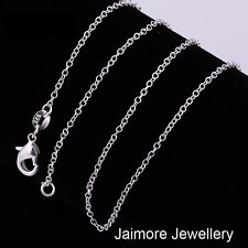 """925 Sterling Silver Link Chain 1mm 18"""" Fine Necklace Girls Ladies + Free Pouch"""