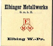 ELBINGER METALLWERKE GmbH Elbing Westpreussen Trademark 1908